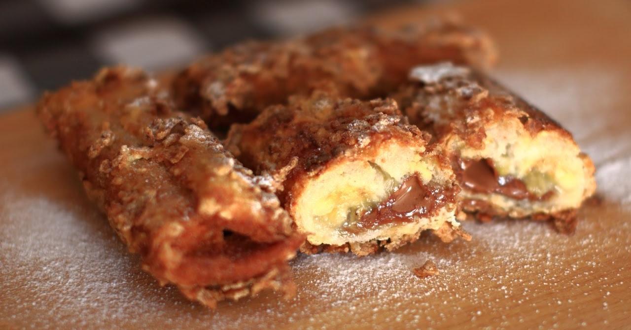 Rollitos de plátano crujientes y con chocolate