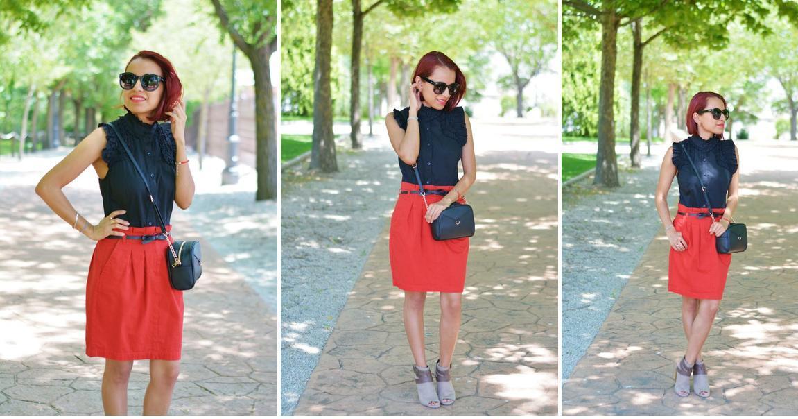 Cómo combinar una falda roja en días de calor