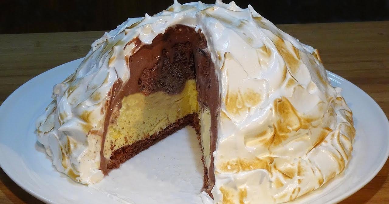 Tarta Alaska súper fácil (Tarta de helado con merengue)