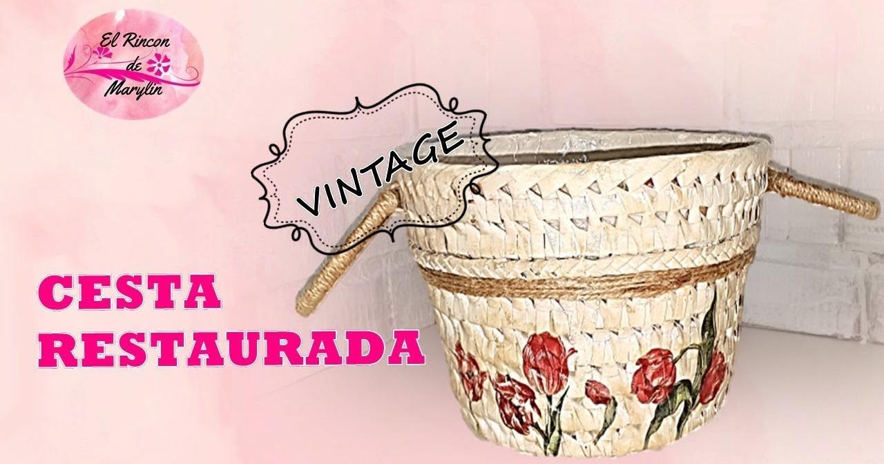 C mo restaurar una cesta tejida de mimbre manualidades - Como forrar una cesta de mimbre ...