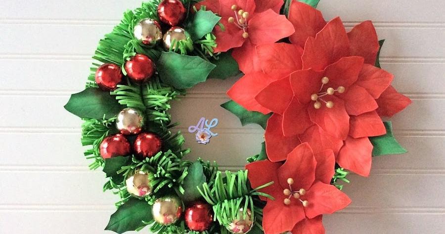 Flor De Pascua En Goma Eva Para Tu Corona De Navidad Manualidades