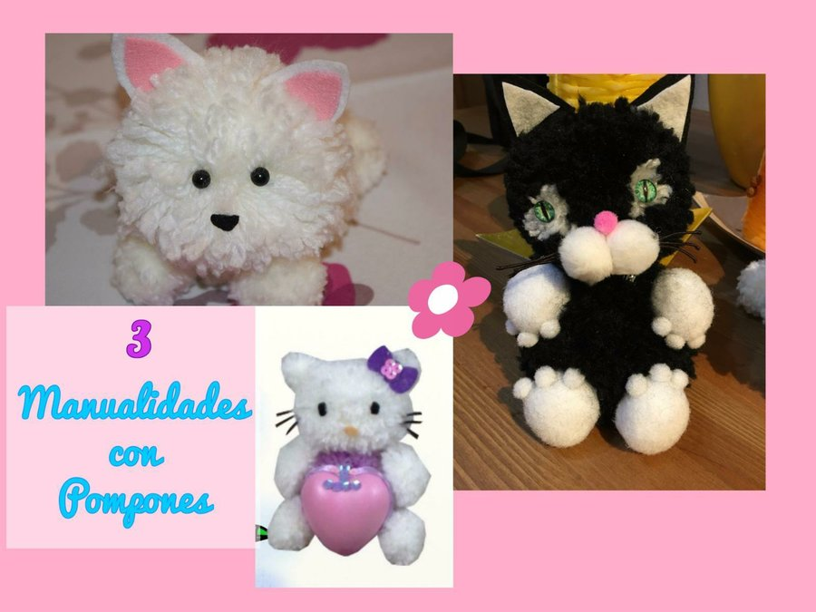 Manualidad kawaii diy f cil pompon cat manualidades for Manualidades para ninos con lana