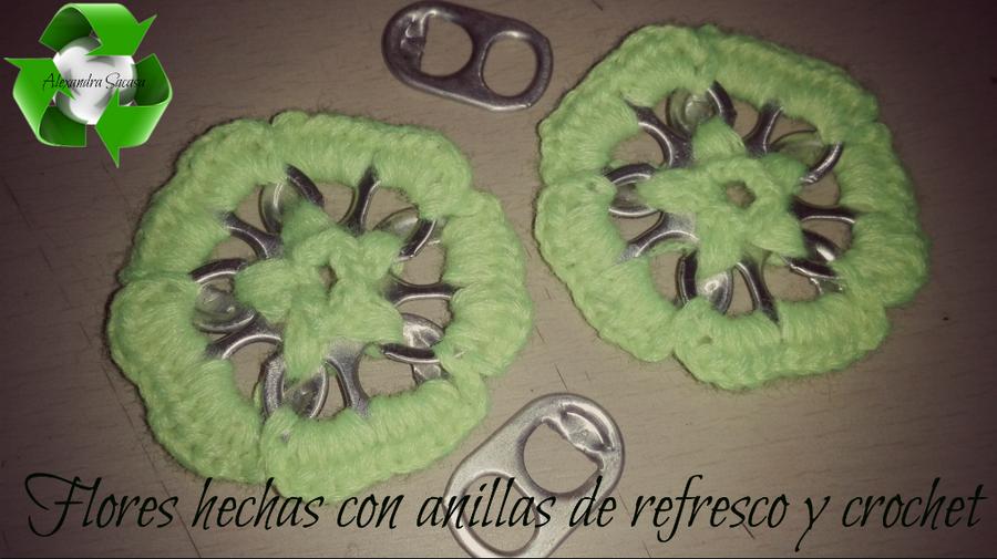 Flores utilizando anillas de refresco y crochet | Manualidades
