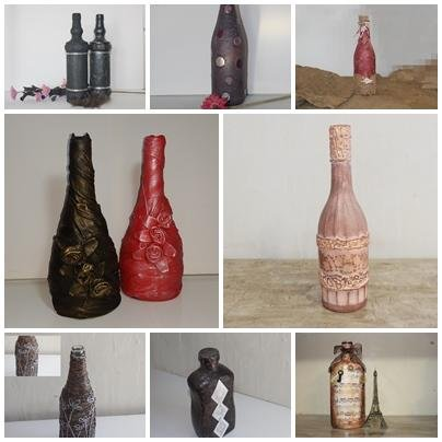 como decorar botella con servilleta de papel de cocina lo puedes hacer del color que quiera y utilizar los elementos que tu quieras para decorarla yo he