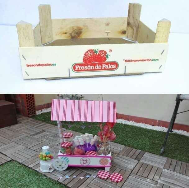 Carrito de chuches reciclando cajas de fresas decoraci n - Ideas para decorar mesas de chuches ...