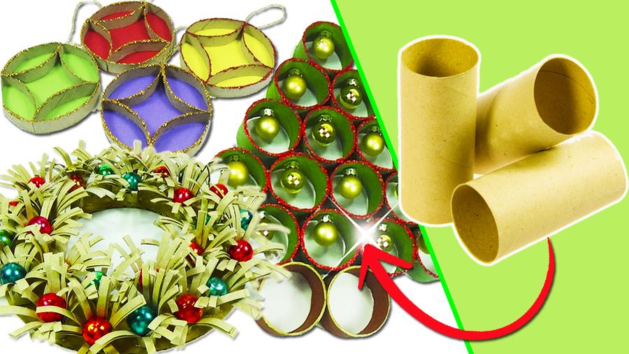 Adornos navideos con tubos de papel higinico Manualidades