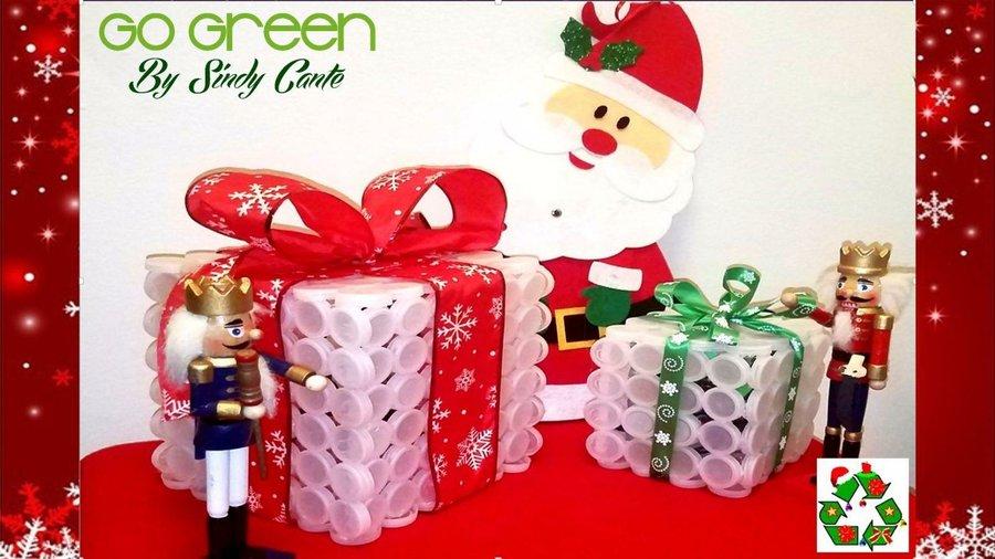 manualidades para navidad con tapas plásticas manualidades