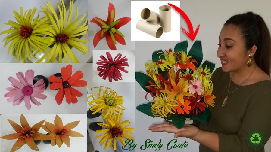 Flores originales con rollos de papel higi nico manualidades - Manualidades con rollos de papel higienico navidenos ...