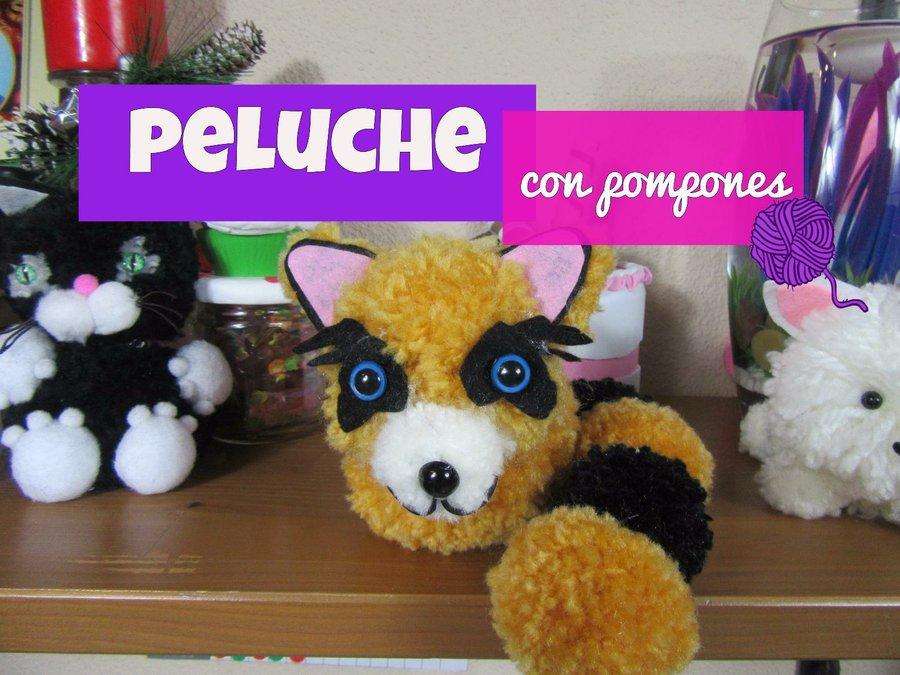 Peluche diy con pompones de lana manualidades - Manualidades en lana ...