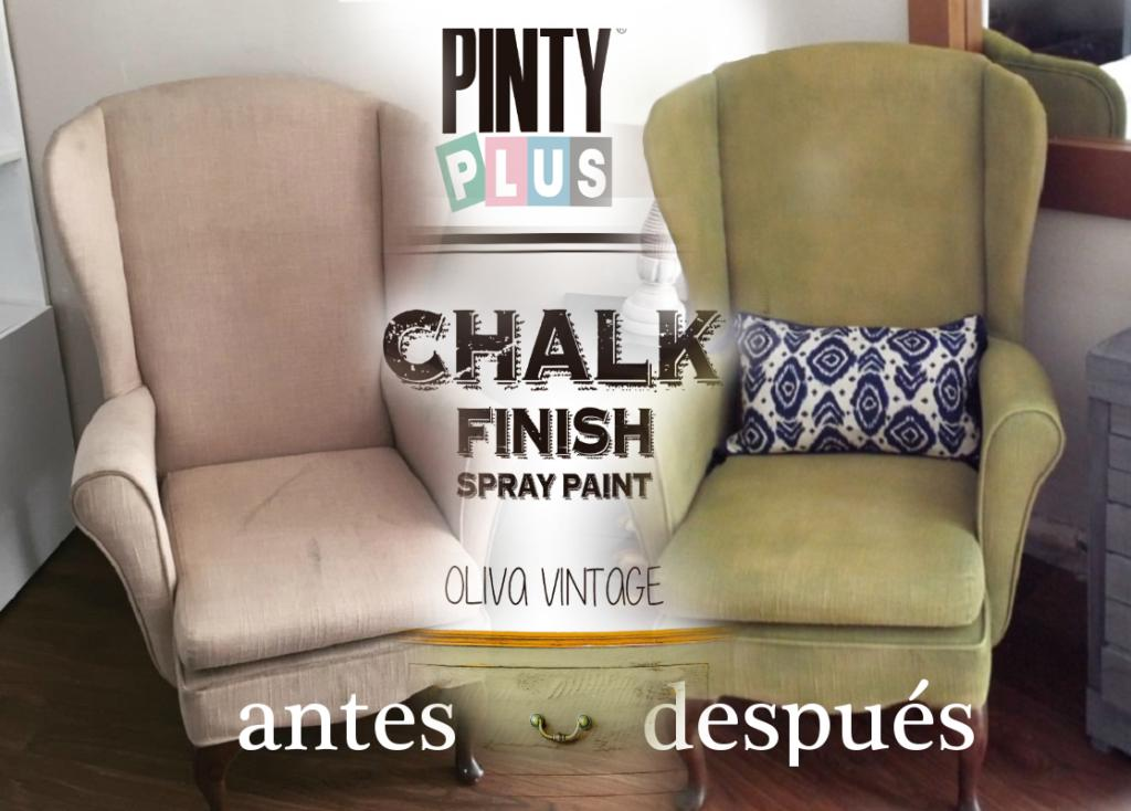 Antes y despues de cómo pintar sofa con pintyplus chalk spray