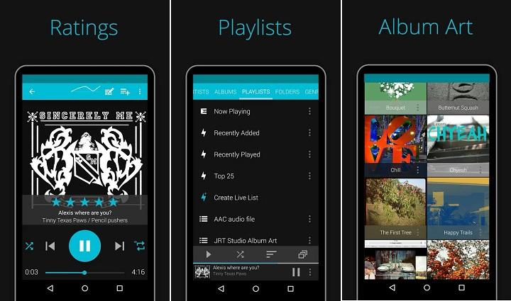 Los 10 mejores reproductores de música para Android Las mejores apps para reproducir música (local) en Android gratis AIMP Stellio Pulsar Rocket Player Phonograph BlackPlayer JetAudio DoubleTwist Shuttle Pixel Player podcasts radio online ecualizador de 12 bandas reproducción sin cortes, editor de tags, temas, material design, formatos WavPack(.wv .wvc), Monkey(.ape), MusePack (.mpc .mpp .mp+), Lossless (.mp4 .m4a .m4b), AAC (.aac .mp4 .m4a .m4b ), FLAC (.flac), Speex (.spx .wav .oga .ogg), Opus (.opus), Samples (.wav .aiff .mp3 .mp2 .mp1 .ogg), MOD music (.xm .it .s3m .mod .mtm .umx