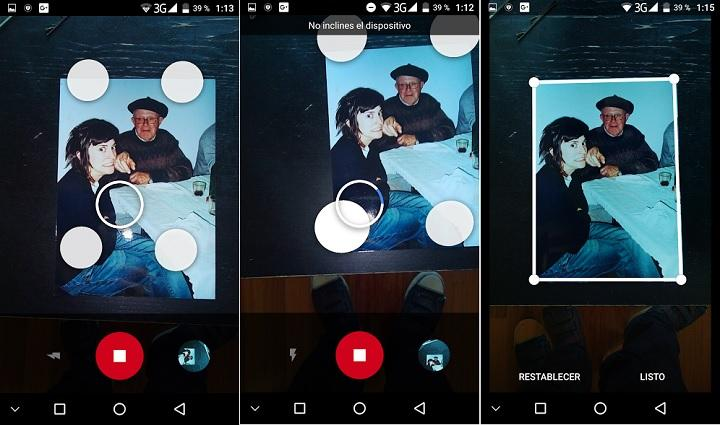 Google PhotoScan digitalizar fotografias escanear fotos android ios sin brillos móviles teléfono celular gratis descargar office Lens