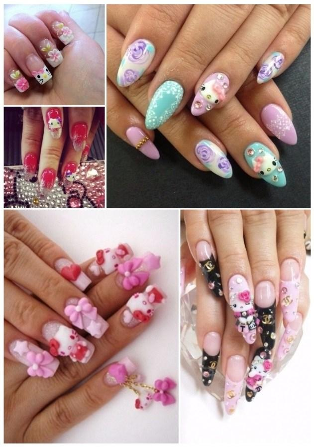 uñas de hello kitty sencillas paso a paso