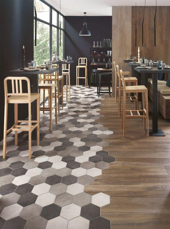 hexagonal flooring and wooden