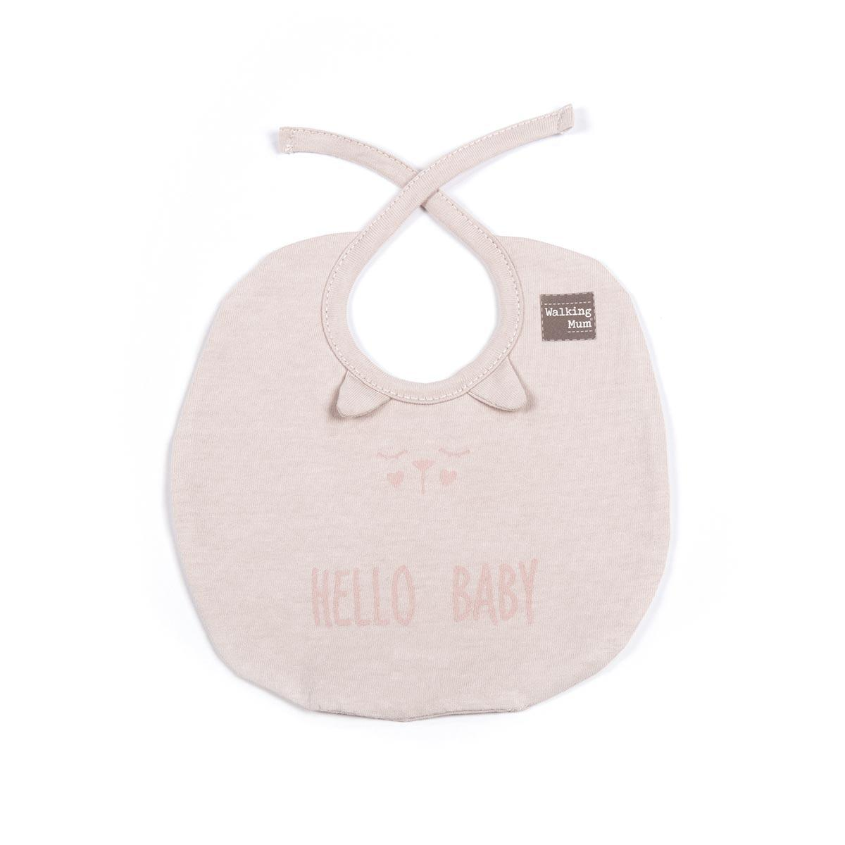 Set de 2 Baberos Hello Baby Walking Mum Rosas