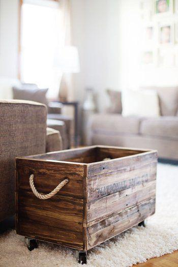reclaimed wood box with rope handles: