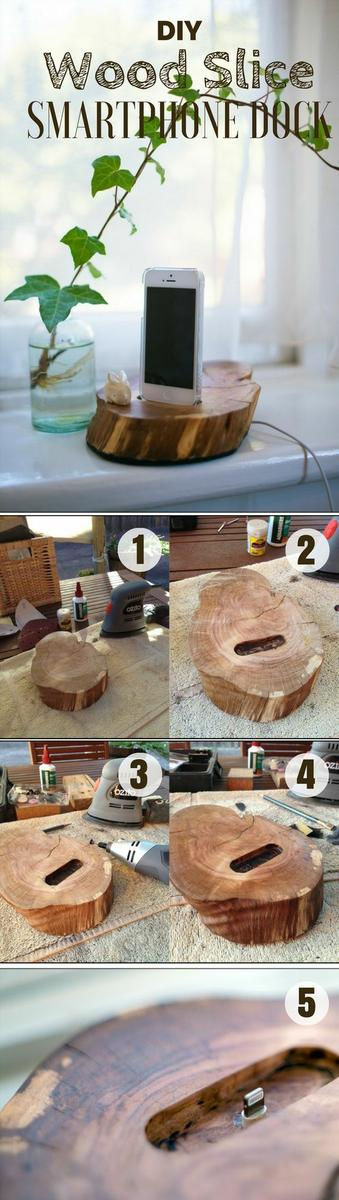 Check out how to build this easy DIY Wood Slice Smartphone Dock @istandarddesign: