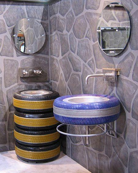 Tires for the bath-not my first choice, but very creative and used in the proper setting (garage, mechanic shop, tire sales, auto sales) would be great.: