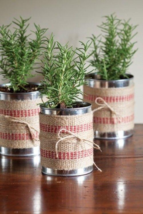 burlap wrapped tin cans - so cute and simple.: