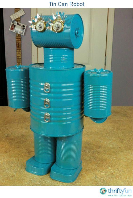 A great way to reuse tin cans is to make a tin can robot. This particular robot took a few hours put together.: