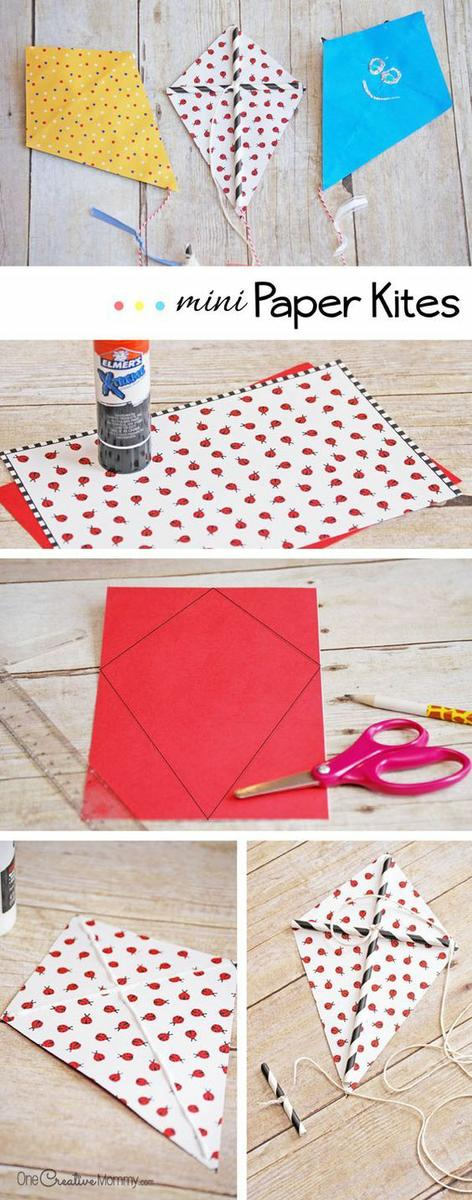 Get your kids outdoors and bust boredom this summer with easy mini paper kites! This simple kids craft is great for summer and fun for the whole family.::