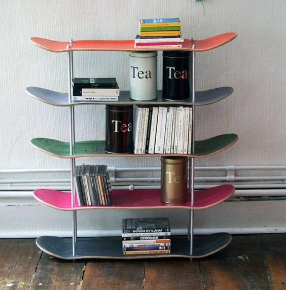 decoracion muebles reciclados con skateboards