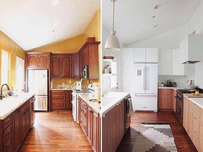 wooden kitchen before and after