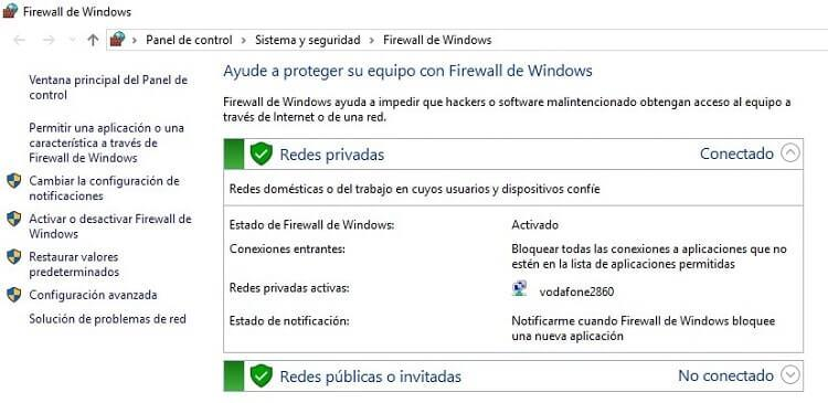 firewall de windows 10