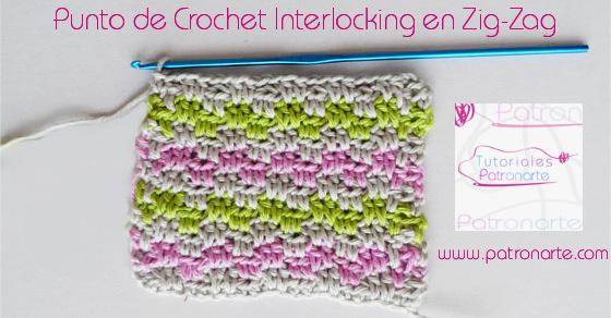 Punto de crochet interlocking en zig-zag