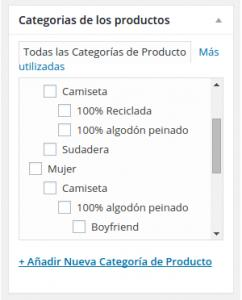 categorias subcategorias productos woocommerce