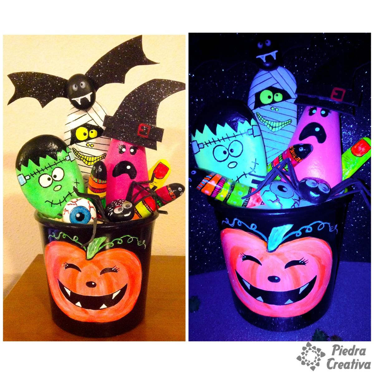 Manualidad Halloween pinturas fluorescentes de PiedraCreativa