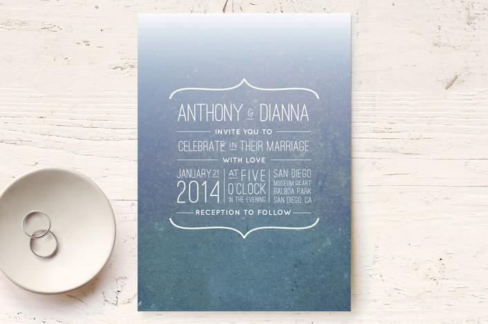 """Dive In"" - Simple, Beach Print-it-yourself Wedding Invitations in Cobalt by Hattie and Jane."