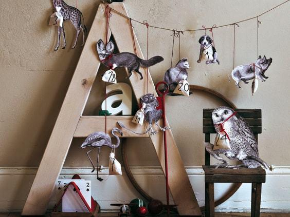 advent calendar with print animals