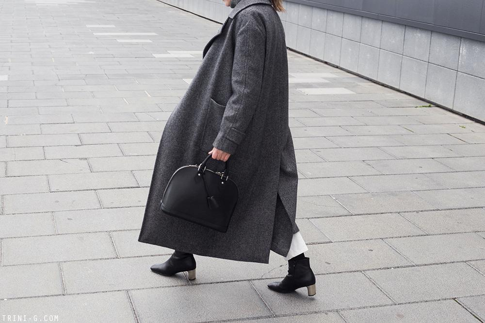 Trini | Max Mara grey coat The Row jeans