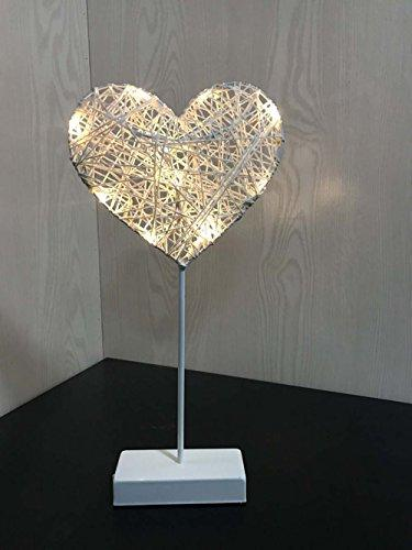 AMZSTAR Grass Rattan Woven LED Love Heart Light Decorative Desk Light Valentines Day Romantic Night Light Bedroom Table Lamp (Heart)