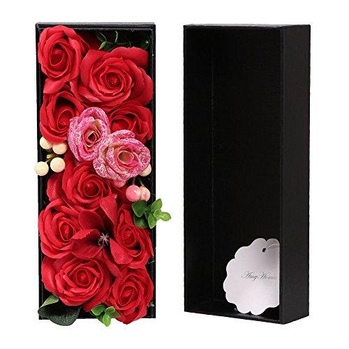 AmyHomie?Artificial?lower, Rose Flower with Gift Box, Superior Soap Flower, Festival Giftsn (1, Red)