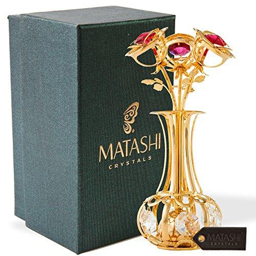 24k Gold Plated Flowers Bouquet and Vase w/ Red & Clear Matashi Crystals | 24k Gold-Plated Table Top Decorations | Metal Floral Arrangement | Elegant Home or Office Décor