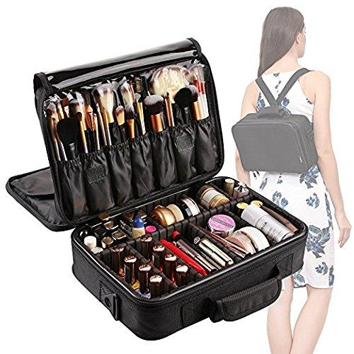 [Gift Included] VASKER 3 Layers Waterproof Makeup Bag Travel Cosmetic Case Brush Holder with Adjustable Divider VA-06