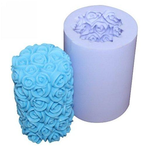 Allforhome(TM) Valentines Day Wedding Rose Cylinder Flower Silicone Candle DIY Mold Handmade Soap moulds Craft Art DIY Moulds 3D Candle Making Mold