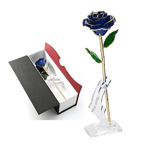 Rose Flower,Best Gift for Christmass Day, Valentines Day, Mothers Day, Birthday Gift 24k Golden Plated Rose In Gift Box Red for Lover Mother Girlfriend (Blue with Swallows Shape Stand)