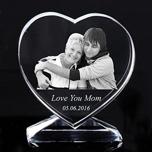 Personalized Custom 2D/3D Laser Photo Engraving Crystal Glass Heart With Stand ,Best Gifts for Wedding and Anniversary