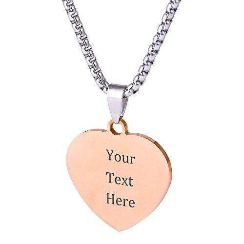 Custom Stainless Steel Pendant Necklace with Personalized Engraving 3 Shapes and 9 Chains to Choose (Rose Gold Color & Heart Shape)