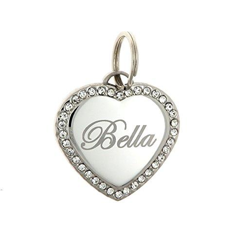 Custom Engraved Personalized Stainless Steel Heart Swaroski Zirconia Dog Pet ID Jewelry Bling Tag
