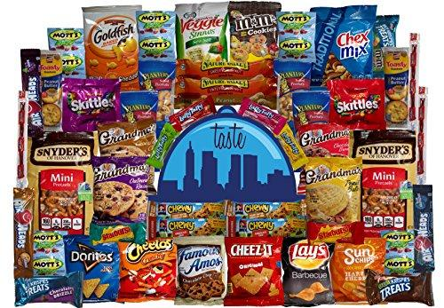 Taste Box Care Package 50 Count Super Snack Sampler of Bars, Cookies, Chips, Candy, and Snacks for Office, School, Friends, Family, and College Variety Pack