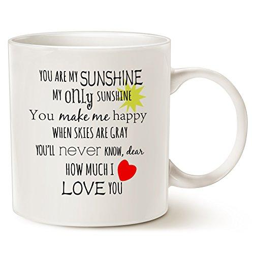 Inspirational Love Coffee Mug Christmas Gifts, You are my Sunshine Word Art Typography Coffee Cup White, 14 Oz by LaTazas