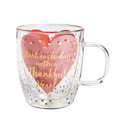 "Cypress Home Metallic Thankful Heart 12 oz Artisan Double-Wall Glass Coffee or Tea Café Cup in Coordinating Gift Box - 4.75""W x 4""D x 4.5""H"