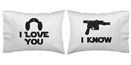 Star Wars Inspired I Love You, I Know Blaster Pillowcase Set