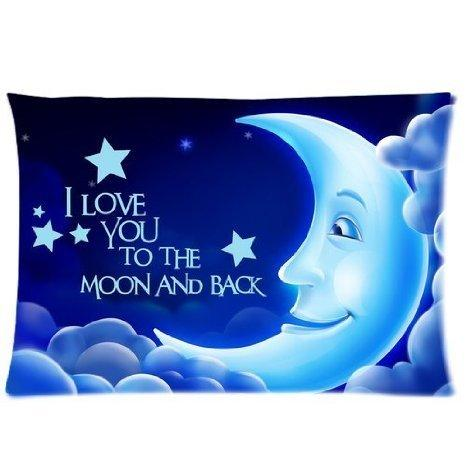 "Guse case Cotton ""I Love You To The Moon And Back"" Throw Pillow Case Sofa Decorative Home Custom Cushion Cover 18 X 18 Inch One Side"