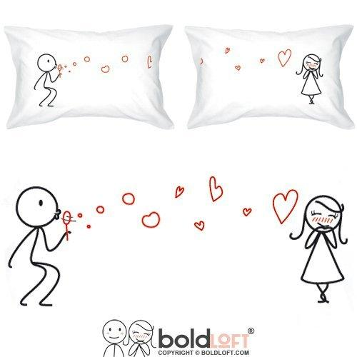 BOLDLOFT From My Heart to Yours Couples Pillowcases for Him and Her (King Size)| Cute Valentines Gifts for Her| His and Hers Gifts| 2nd Anniversary Gifts for Her| Romantic Gifts for Couples