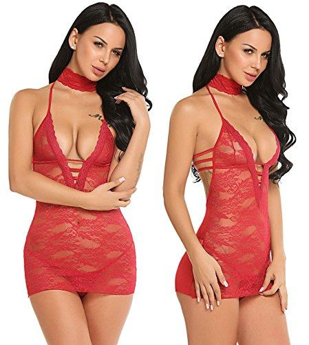 Avidlove Women Lace Lingerie Halter Chemise Floral Babydoll Sexy Nightie Dress Dark Red S